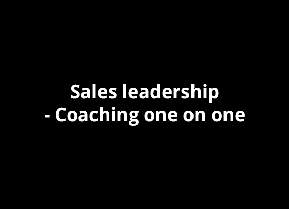 Sales leadership - Coaching one on one